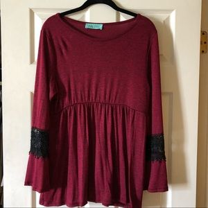 Filly Flair empire waist red top wblack heathering